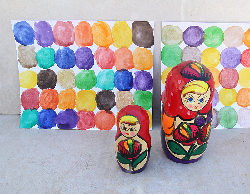 Watercolor Circles Painting With Nesting Dolls