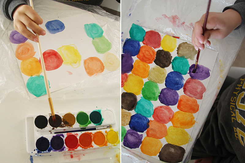 Watercolor circles painting in progress