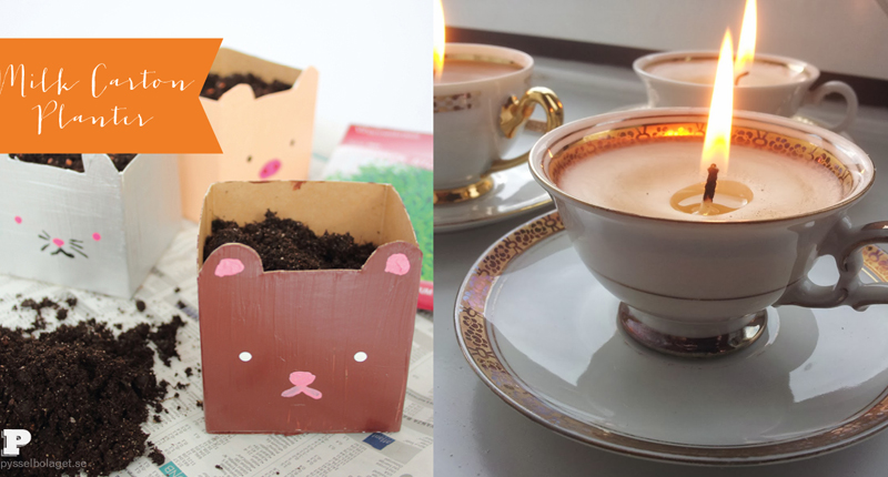 Milk carton planter,tea cup candle