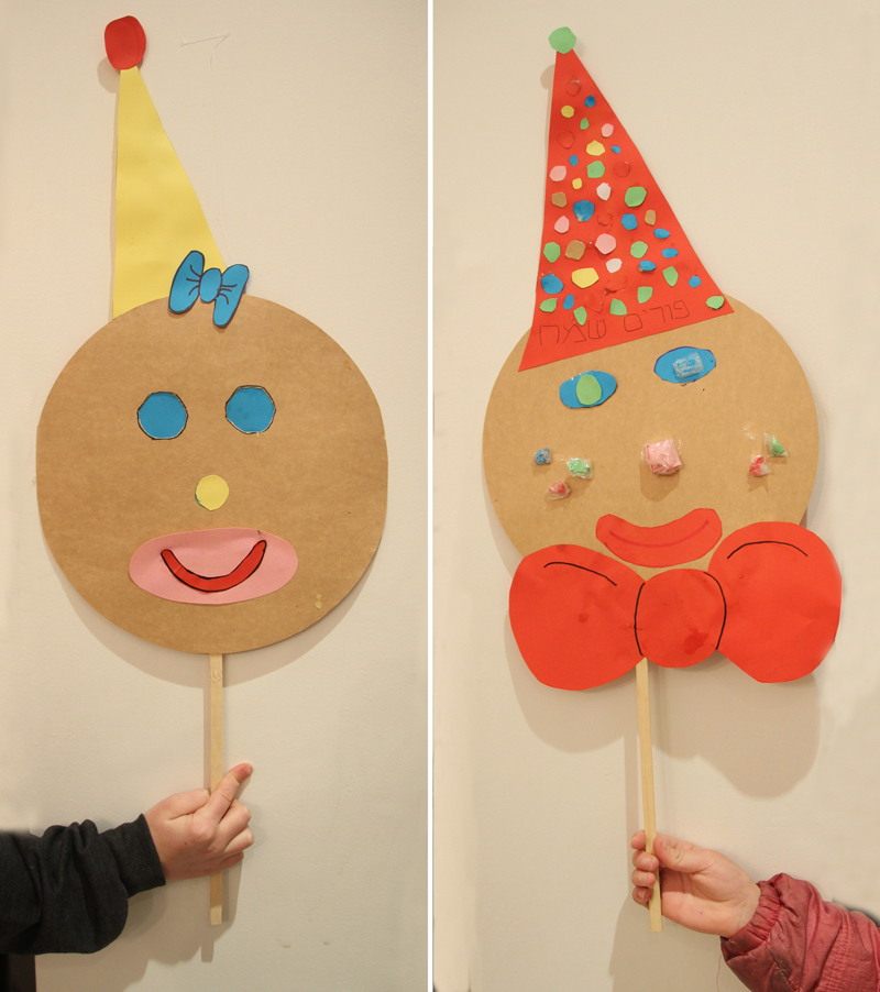 Purim Clown Mask Craft With Stick
