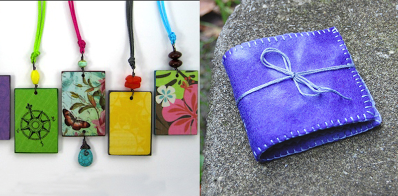 Needle book,reversible decoupage pendants