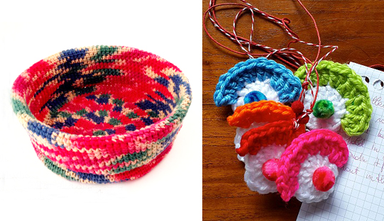 Crocheted basket,clown face crocheted pendants