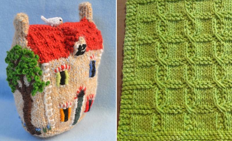 Knit stuffed house,knit swatch