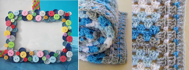 Button frame,granny blanket