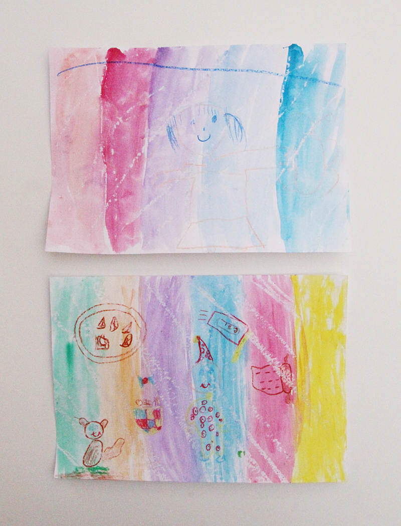 Crayon and wax candle resist paintings for Purim