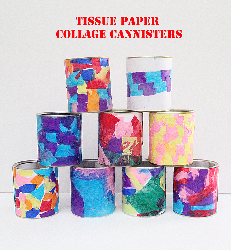 Tissue Paper Collage Cannisters In Pyramid