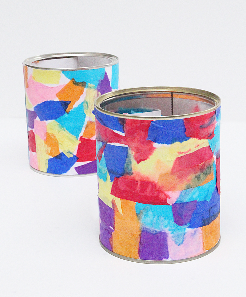 Tissue Paper Collage Cannisters