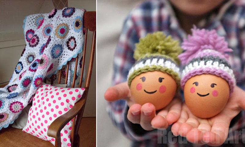 Egg cozy with pom pom,crocheted blanket