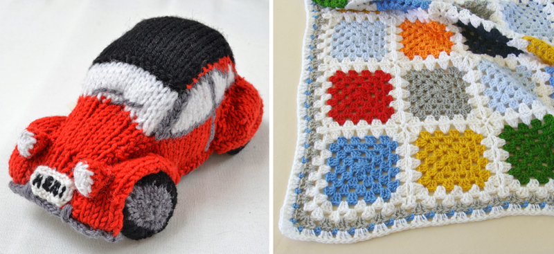 Knit car,granny block blanket
