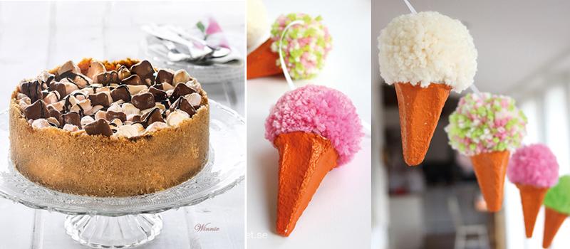 Smores cake,pom pom ice cream cone garland