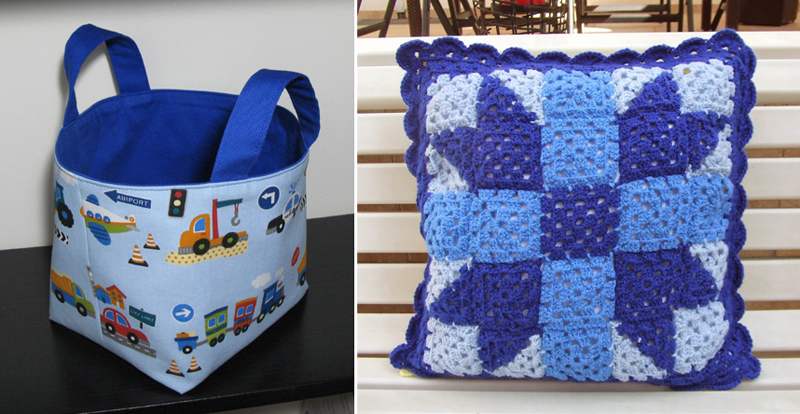 Fabric basket tutorial,patchwork granny pillow