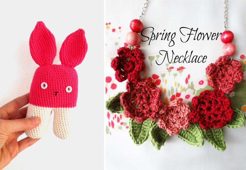 Modern crocheted bunny,crocheted flower necklace