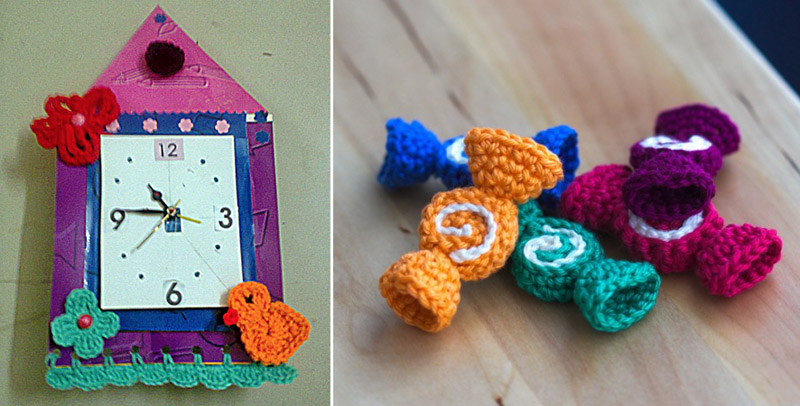 Crocheted candy,clock with crocheted details
