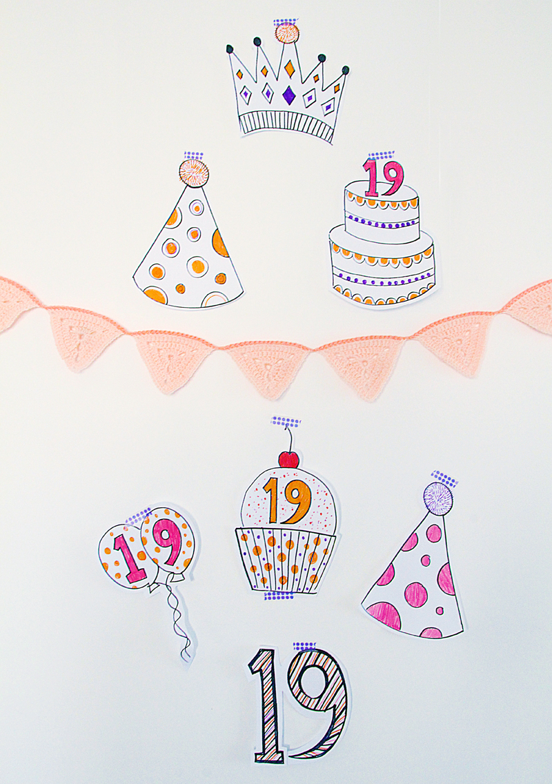 Simple Birthday Decorations With markers and white paper