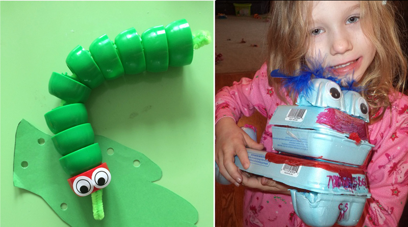 Bottle cap caterpillar,egg carton creature