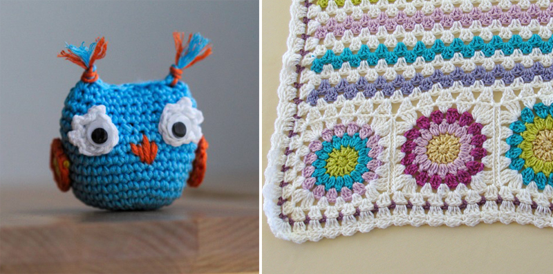 Crocheted owl,crocheted granny stripe