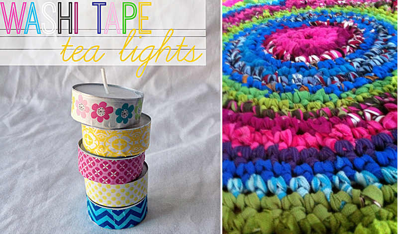 Washi tape tea lights,recycled clothes rug