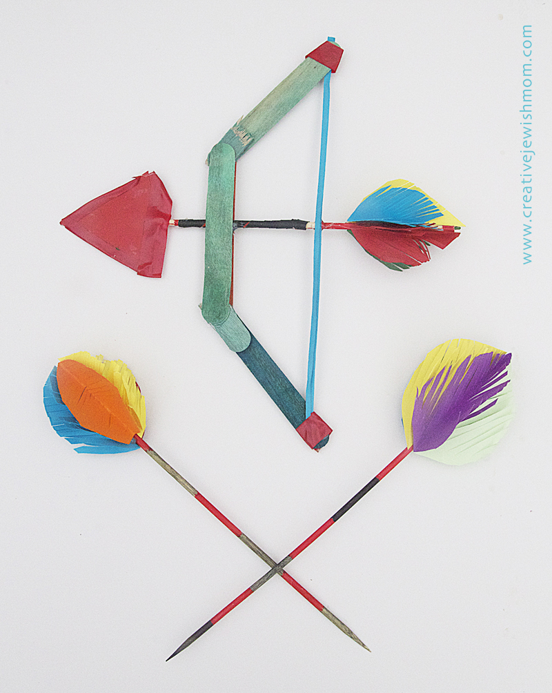 Popsicle stick bow and arrows wall decor