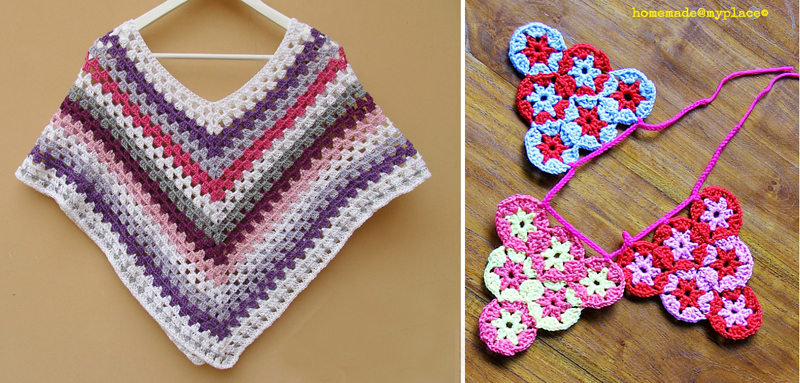 Crocheted poncho,circle bunting