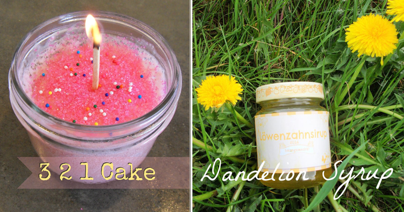 Dandelion syrup,cake in an instant