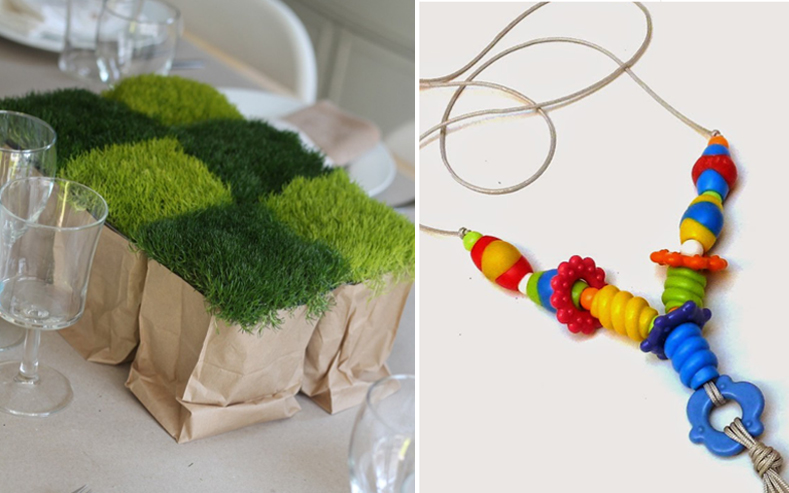 Nursing necklace,moss centerpiece