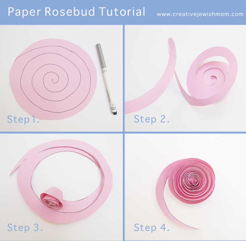 Simple Paper Rosebud Tutorial For All Ages Creative Jewish Mom