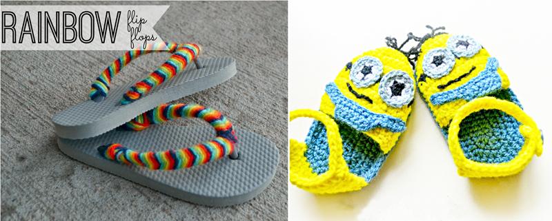 Crocheted minion sandals,rainbow flip flops