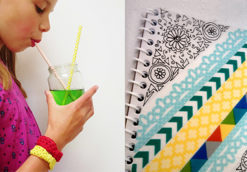 Washi tape covered notebook,simple crocheted bracelet