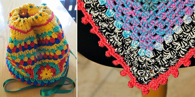 Crocheted granny duffle bag,pom pom crocheted edge