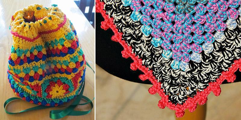 Crocheted granny duffle bag,pom pom crocheted edge