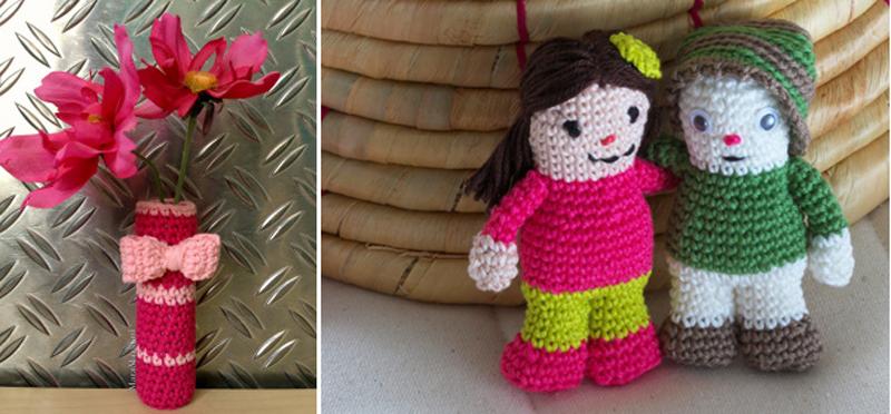 Crocheted tiny vase,amigurumi dolls