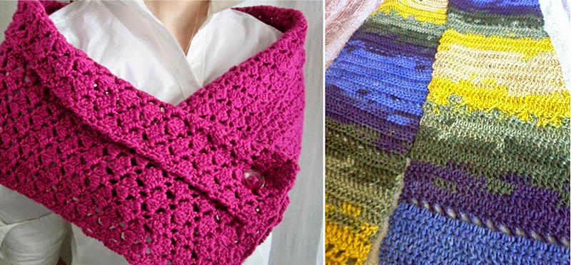 Crocheted button shawl,space dyed diagonal crochet scarf