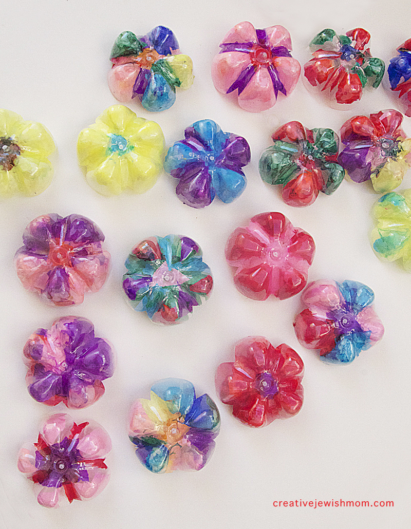 Recycled soda bottle bottom flowers