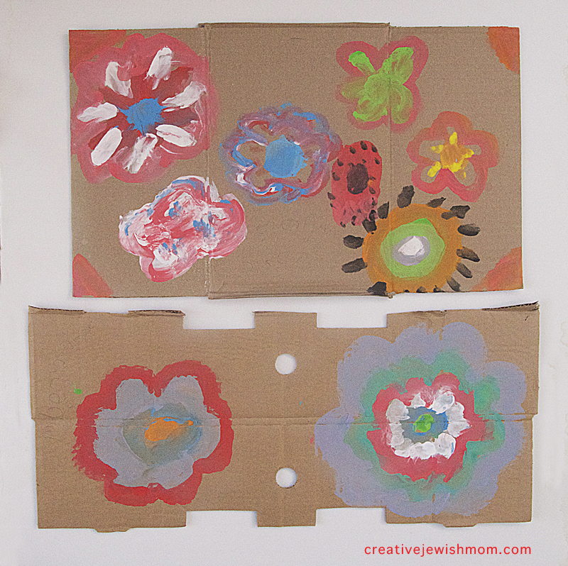 Flowers painted on cardboard kid's craft