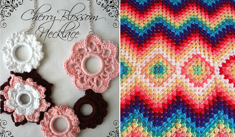 Granny zig zag blanket,cherry blossum crocheted necklace