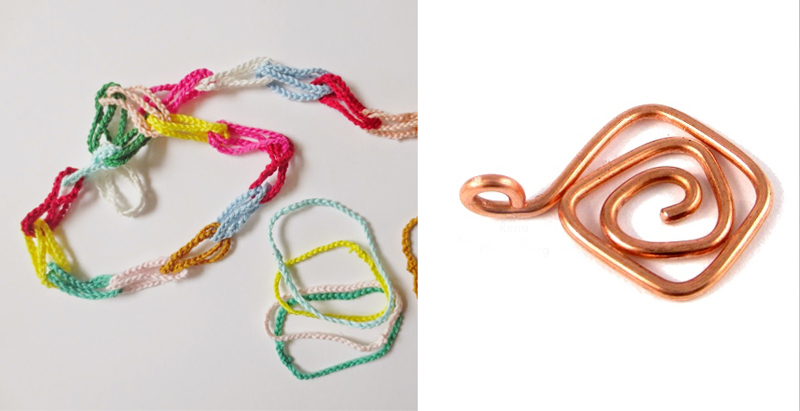 Crocheted chain loops for making garlands,wire wrapped charms