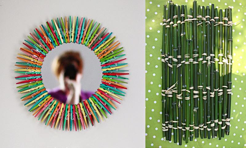 Clothespin mirror,bamboo mat