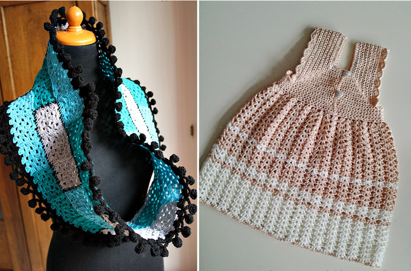 Granny square cowl with pom pom edging,crocheted baby dress