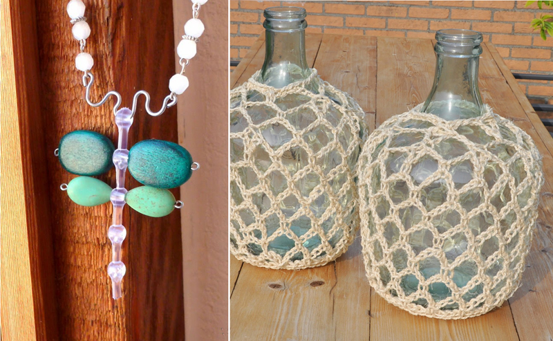 Crocheted cover for large glass bottles,dragon fly jewelry