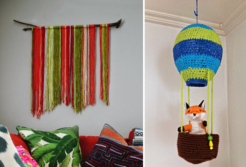 Fringed Wall Hanging, Crochet hot balloon hanging
