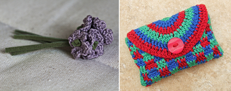 Crocheted violets,crocheted little coin purse