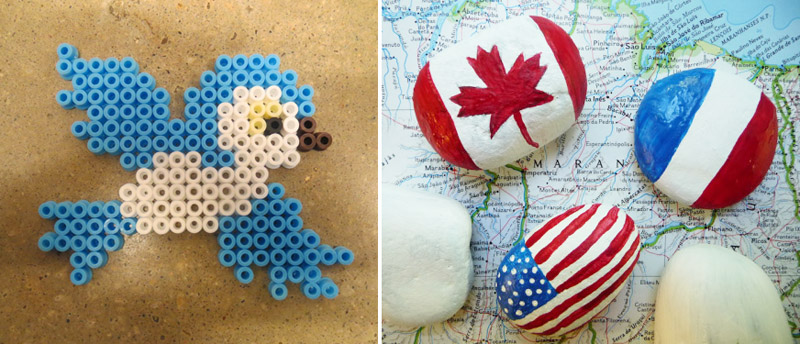 Flag painted rocks,perler bead bird