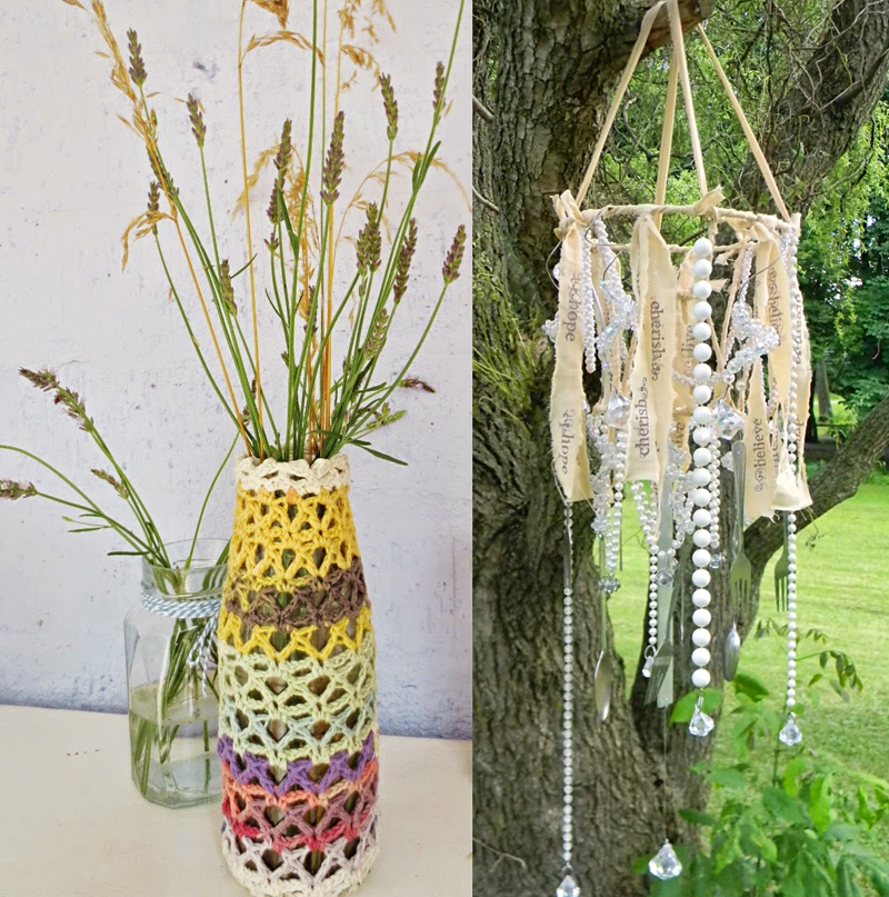 Lamp shade windchime, crochet odds and ends jar cover