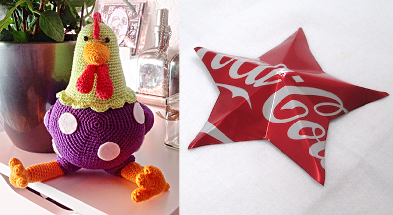 Crocheted stuffed hen,cola can star