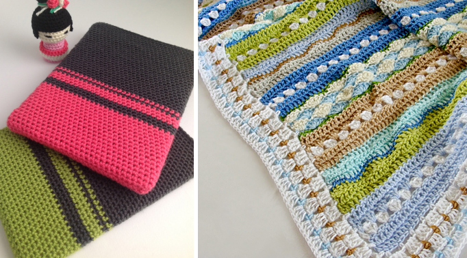 Crocheted color block ipad cover,striped sea inspired crocheted blanket