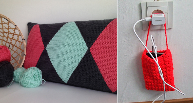 Crocheted harlequin pillow,phone charger pouch