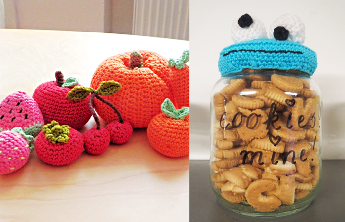 Corcheted fruit toy,cookie monster crocheted jar top