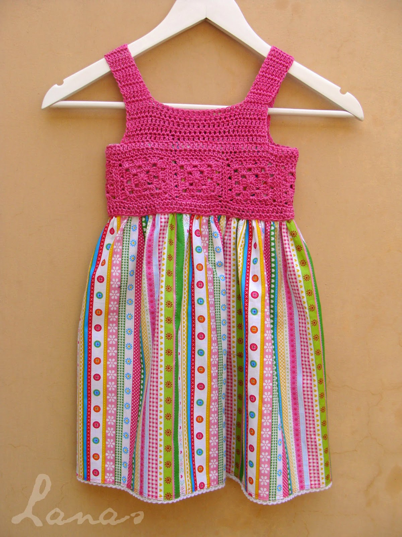 Crocheted pink dress