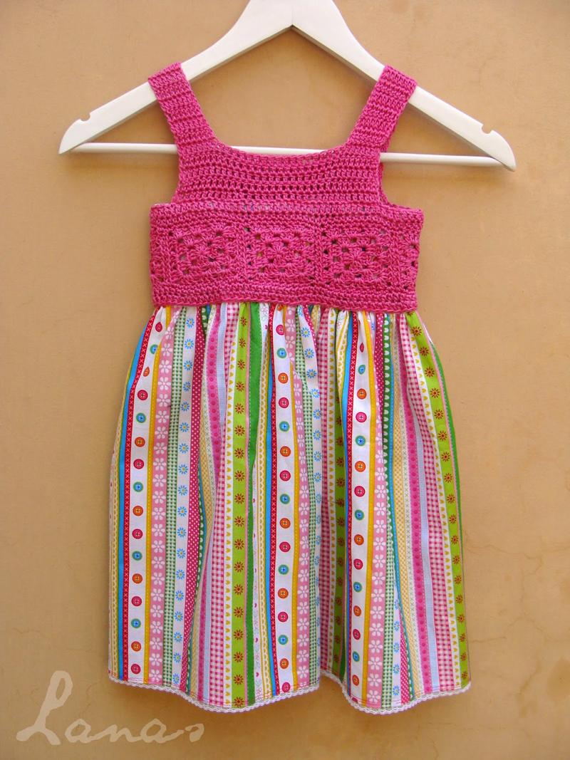 Crocheted pink dress