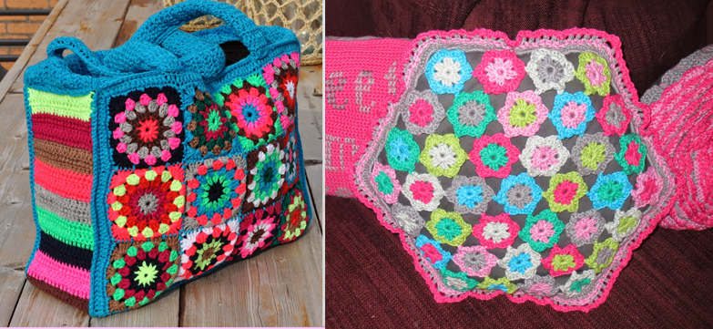 Crocheted granny bag,pillow